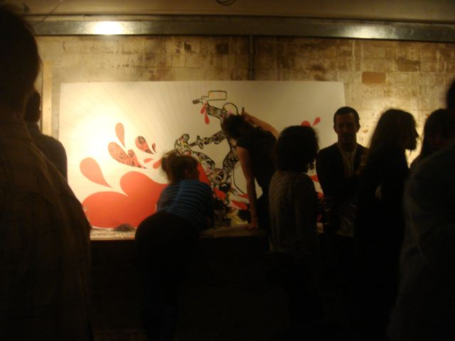 Live artist wall drawing at Glug