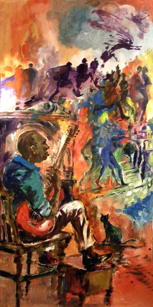 Curtis's lively and imaginative acrylic painting- an immediate response to the seven acoustic sets