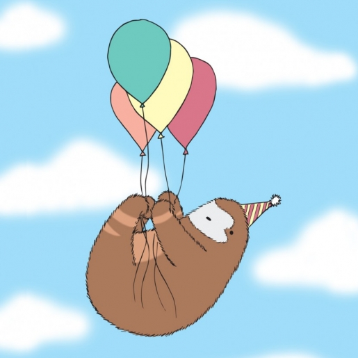 Sloth in party hat - photo#47