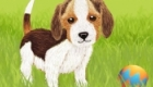 Puppy with ball - concept illustration for children's animation