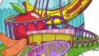 A dream drawing. This time of a fruit theme park with a roller coaster and bumper cars. Drawn in pen…