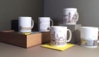Bone china mugs illustrated with our architectural drawings