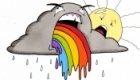 A humorous interpretation of how rainbows are made.