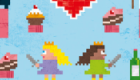 Pixel Love greeting card #04 'Birthday Princess and the Castle of Doom'.