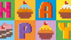 Pixel Love greeting card #01 'Birthday cup cakes'.