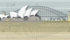 Sydney Harbour architectural illustration. Available as prints, cards, etc.
