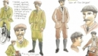 charcter design of late Victorian cyclists for graphic novel