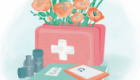 Editorial illustration for 'How to create a mental health first aid kit', Breathe magazine, Issue 11.